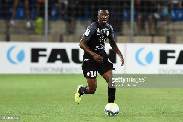 Isaac Mbenza of Montpellier during the Ligue 1 match between Montpellier Herault SC and SM Caen at Stade de la Mosson on August 5 2017 in Montpellier
