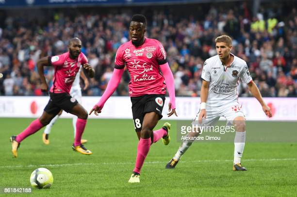 Isaac Mbenza of Montpellier during the Ligue 1 match between Montpellier Herault SC and OGC Nice at Stade de la Mosson on October 14 2017 in...