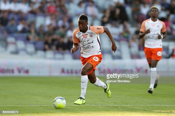 Isaac Mbenza of Montpellier during the Ligue 1 match between Toulouse FC and Montpellier Herault SC at Stadium Municipal on August 12 2017 in Toulouse