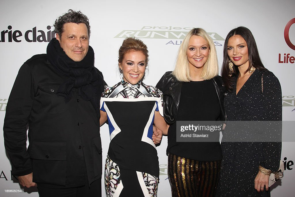 Isaac Mizrahi, <a gi-track='captionPersonalityLinkClicked' href=/galleries/search?phrase=Alyssa+Milano&family=editorial&specificpeople=203329 ng-click='$event.stopPropagation()'>Alyssa Milano</a>, Zanna Roberts Rassi and Georgina Chapman attend the Project Runway All Stars Season 3 premiere party presented by The Weinstein Company and Lifetime in partnership with Marie Claire, QVC, Mary Kay and Alterna Haircare at Hudson Common at the Hudson Hotel on October 22, 2013 in New York City.