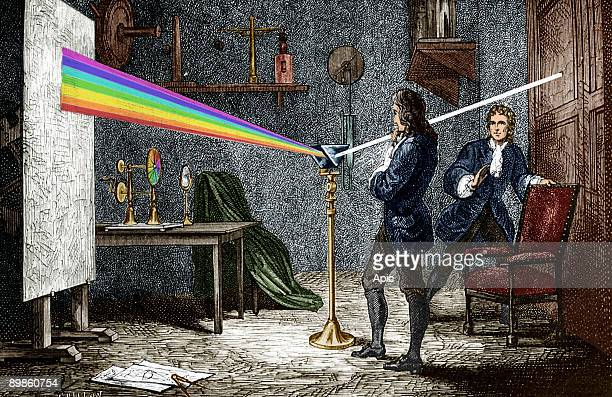 Isaac Newton english mathematician physicist and astronomer author of the theory of terrestrial universal attraction here dispersing light with a...