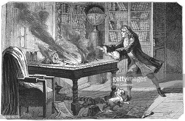 Isaac Newton English scientist and mathematician 1874 Newton's dog knocking over a candle and setting fire to his papers Newton's discoveries were...