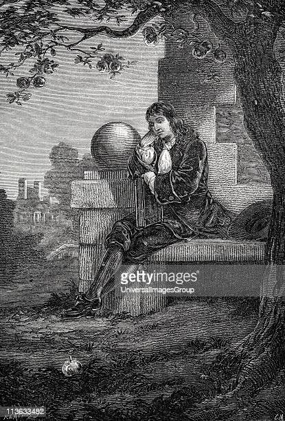 Isaac Newton English scientist mathematician Artist's impression of Newton in the orchard at Woolsthorpe when an apple fell and set him thinking...