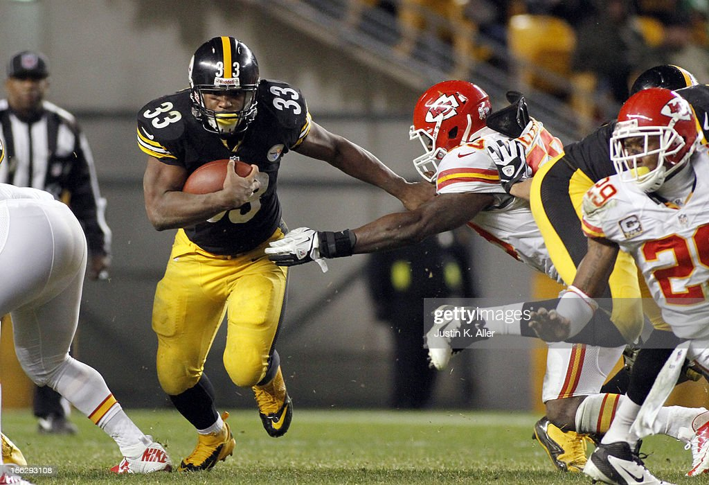<a gi-track='captionPersonalityLinkClicked' href=/galleries/search?phrase=Isaac+Redman&family=editorial&specificpeople=6218365 ng-click='$event.stopPropagation()'>Isaac Redman</a> #33 of the Pittsburgh Steelers carries the ball against the Kansas City Chiefs during the game on November 12, 2012 at Heinz Field in Pittsburgh, Pennsylvania. The Steelers defeated the Chiefs 16-13.