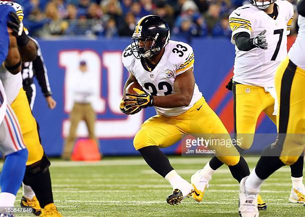 Isaac Redman of the Pittsburgh Steelers in action against the New York Giants at MetLife Stadium on November 4 2012 in East Rutherford New Jersey The...
