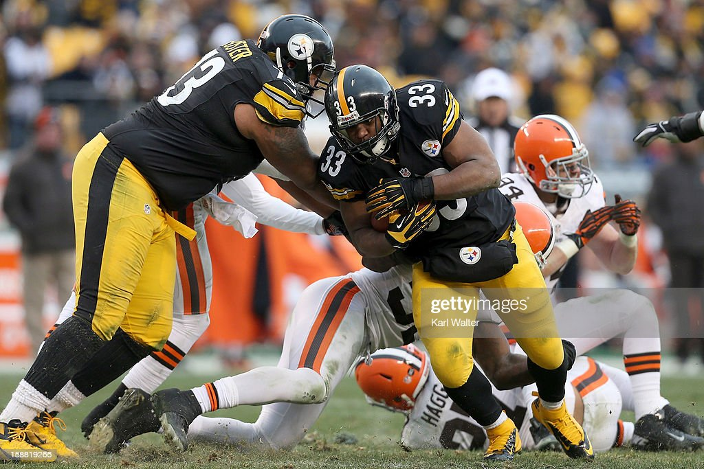 <a gi-track='captionPersonalityLinkClicked' href=/galleries/search?phrase=Isaac+Redman&family=editorial&specificpeople=6218365 ng-click='$event.stopPropagation()'>Isaac Redman</a> #33 of the Pittsburgh Steelers runs the football during the game against the Cleveland Browns at Heinz Field on December 30, 2012 in Pittsburgh, Pennsylvania.