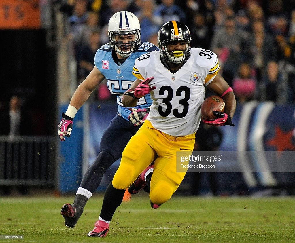 <a gi-track='captionPersonalityLinkClicked' href=/galleries/search?phrase=Isaac+Redman&family=editorial&specificpeople=6218365 ng-click='$event.stopPropagation()'>Isaac Redman</a> #33 of the Pittsburgh Steelers rushes past Colin McCarthy #52 of the Tennessee Titans at LP Field on October 11, 2012 in Nashville, Tennessee.