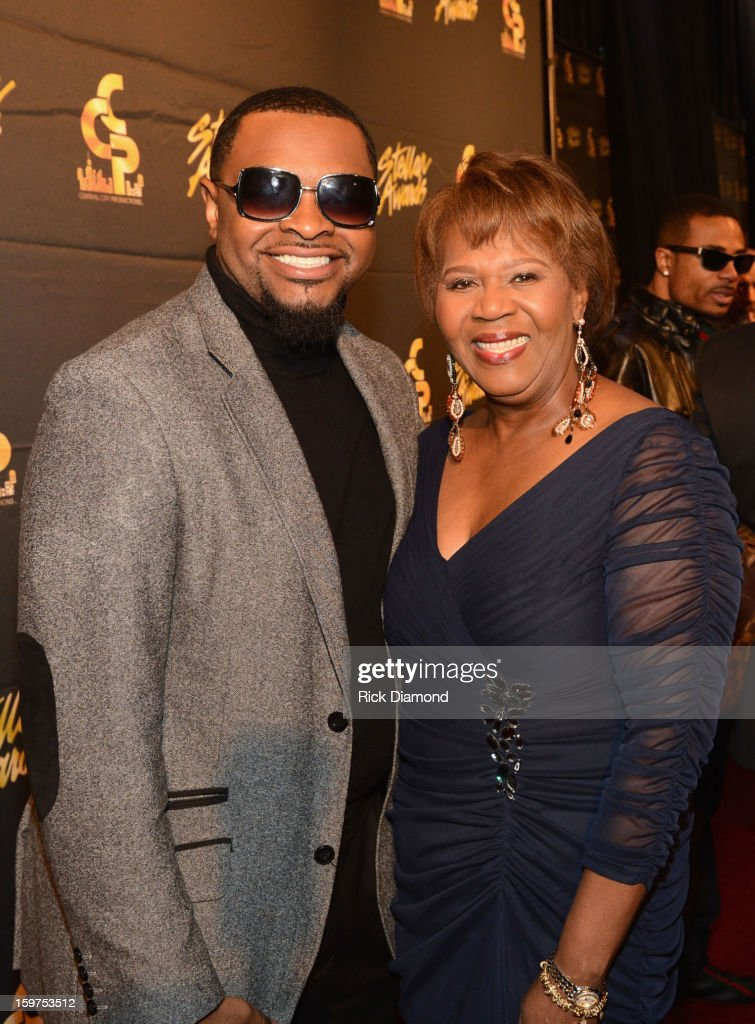 Isaac Simpson and President/COO of Central City Productions Erma Davis arrive to the 28th Annual Stellar Awards Red Carpet at Grand Ole Opry House on January 19, 2013 in Nashville, Tennessee.