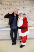 Isaac Slade of The Fray and Santa Claus attend 955 WPLJ's Scott Todd 22nd Annual Holiday Broadcast at Blythedale Children's Hospital on December 20...