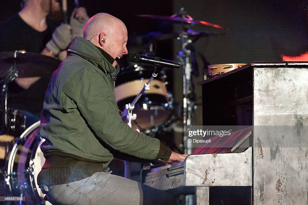 <a gi-track='captionPersonalityLinkClicked' href=/galleries/search?phrase=Isaac+Slade&family=editorial&specificpeople=537604 ng-click='$event.stopPropagation()'>Isaac Slade</a> of The Fray performs on stage during the Super Bowl Kickoff Spectacular at Liberty State Park on January 27, 2014 in Jersey City, New Jersey.