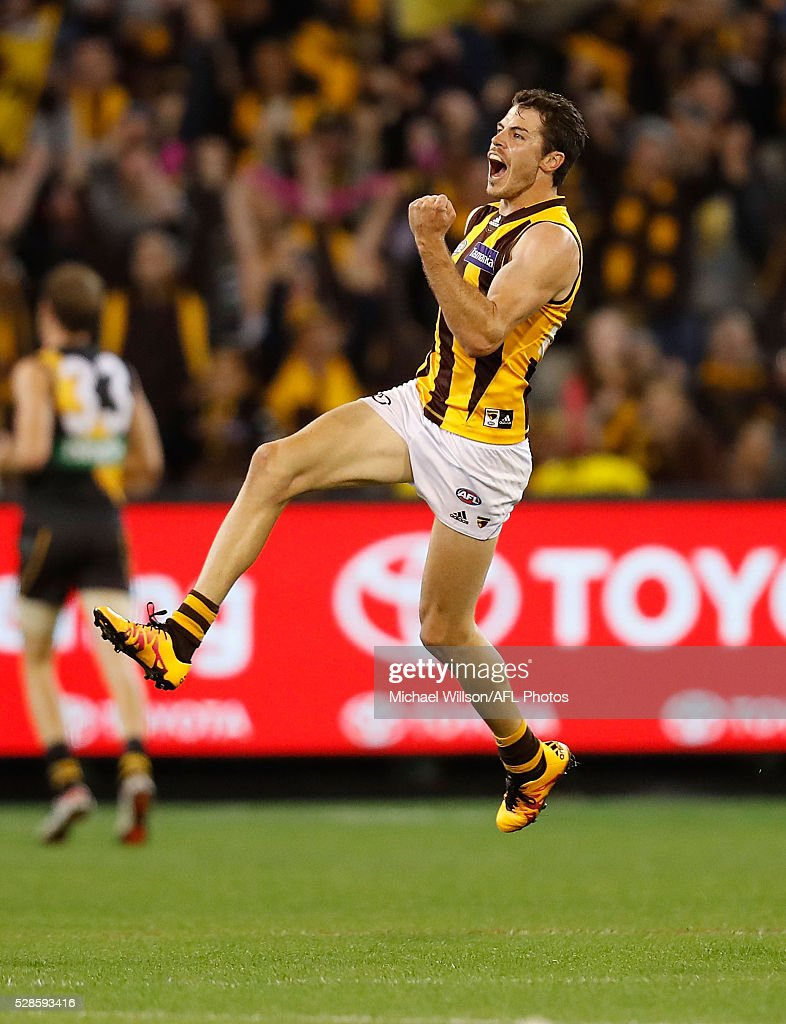 Isaac Smith of the Hawks celebrates during the 2016 AFL Round 07 match between the Richmond Tigers and the Hawthorn Hawks at the Melbourne Cricket Ground, Melbourne on May 6, 2016.