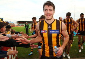 Isaac Smith of the Hawks celebrates the win with fans during the round 14 AFL match between the Hawthorn Hawks and the Brisbane Lions at Aurora...