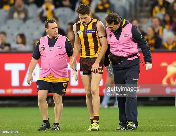 Isaac Smith of the Hawks is attended to by trainers after injuring his knee during the round 23 AFL match between the Hawthorn Hawks and the Carlton...