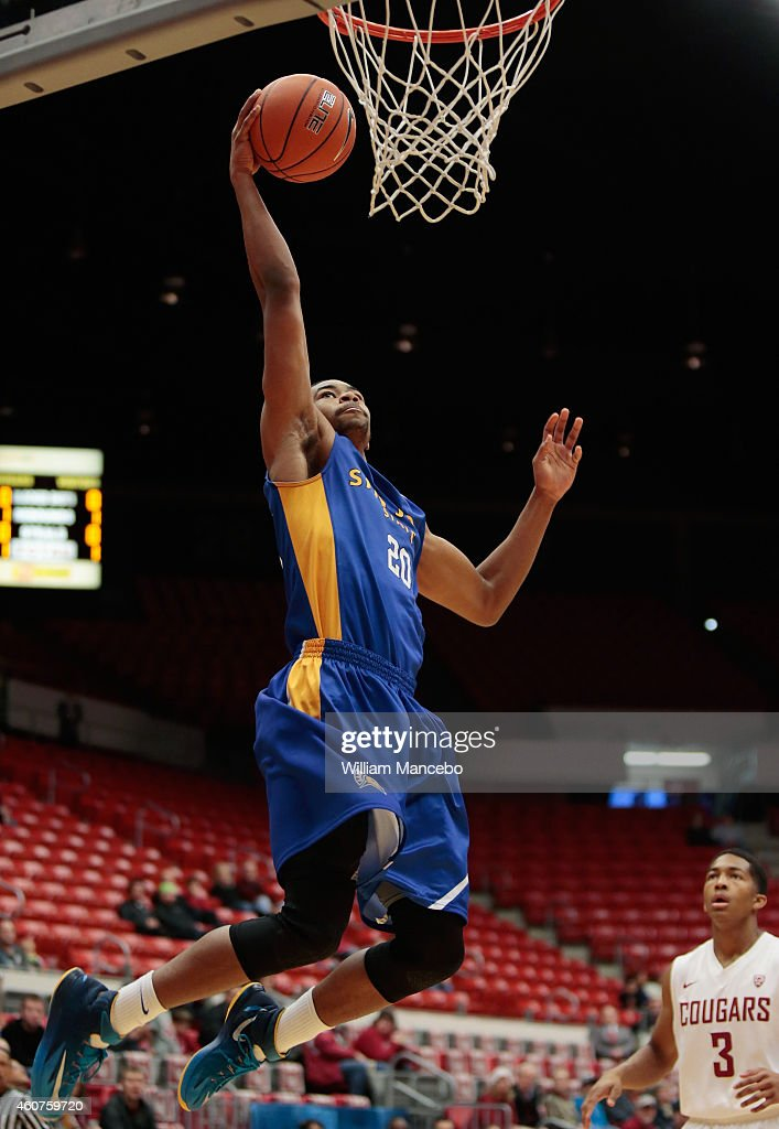 Isaac Thornton of the San Jose State Spartans goes up for the dunk against the Washington State Cougars in the first half at Beasley Coliseum on...