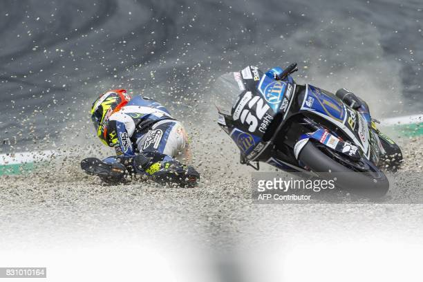 TOPSHOT Isaac Vinales of Spain competes during the Moto 2 race of the Austria Moto Grand Prix on August 13 in Spielberg Austria / AFP PHOTO / APA /...