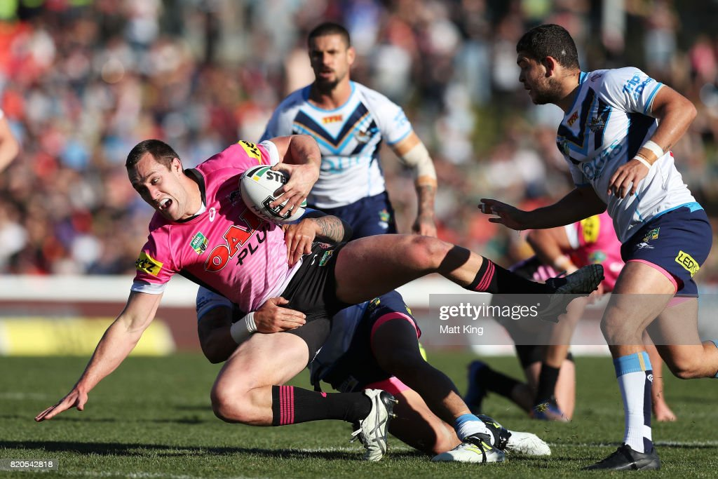 Isaah Yeo of the Panthers is tackled during the round 20 NRL match between the Penrith Panthers and the Gold Coast Titans at Pepper Stadium on July 22, 2017 in Sydney, Australia.