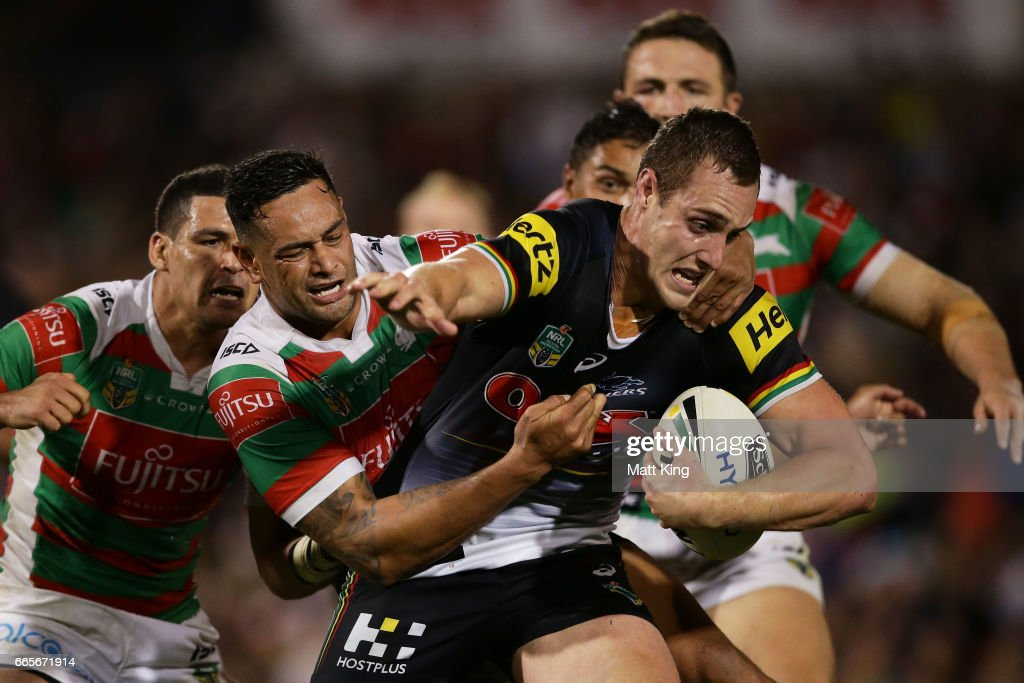 Isaah Yeo of the Panthers is tackled during the round six NRL match between the Penrith Panthers and the South Sydney Rabbitohs at Pepper Stadium on April 7, 2017 in Sydney, Australia.