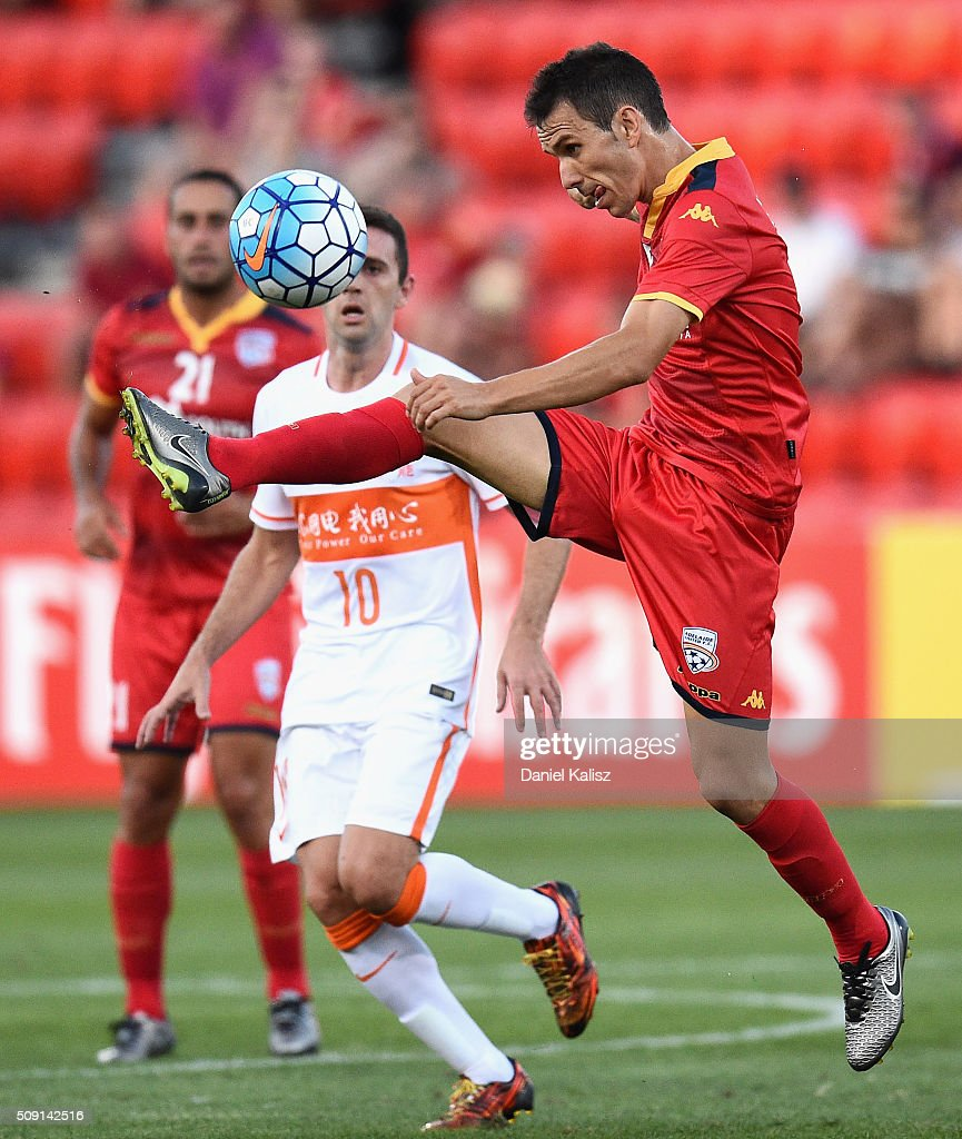 Isaas Sanchez of United controls the ball during the AFC Champions League playoff match between Adelaide United and Shandong Luneng at Coopers Stadium on February 9, 2016 in Adelaide, Australia.