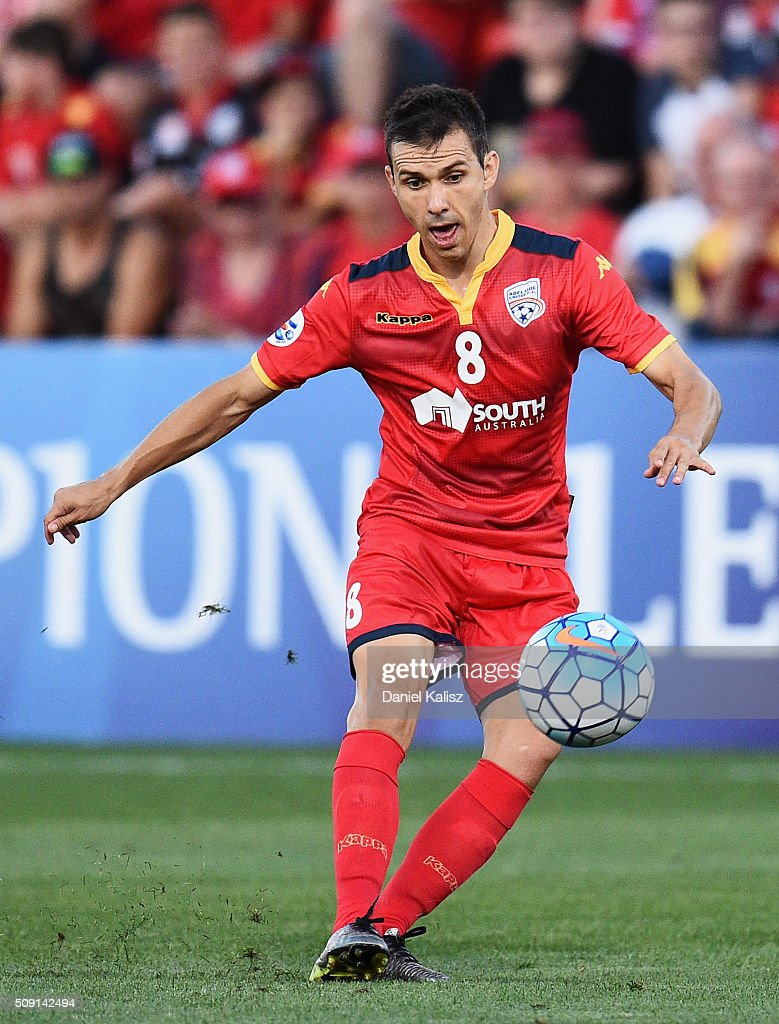 Isaas Sanchez of United strikes the ball during the AFC Champions League playoff match between Adelaide United and Shandong Luneng at Coopers Stadium on February 9, 2016 in Adelaide, Australia.