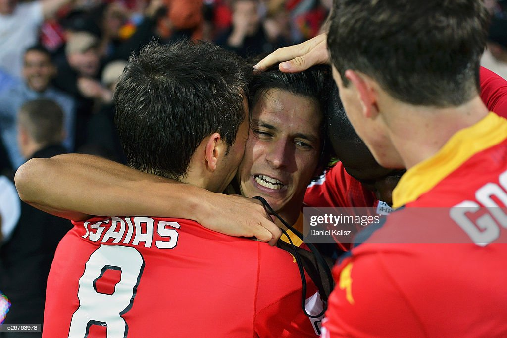 Isaas Sanchez, Pablo Sanchez Alberto and Craig Goodwin of United react during the 2015/16 A-League Grand Final match between Adelaide United and the Western Sydney Wanderers at Adelaide Oval on May 1, 2016 in Adelaide, Australia.