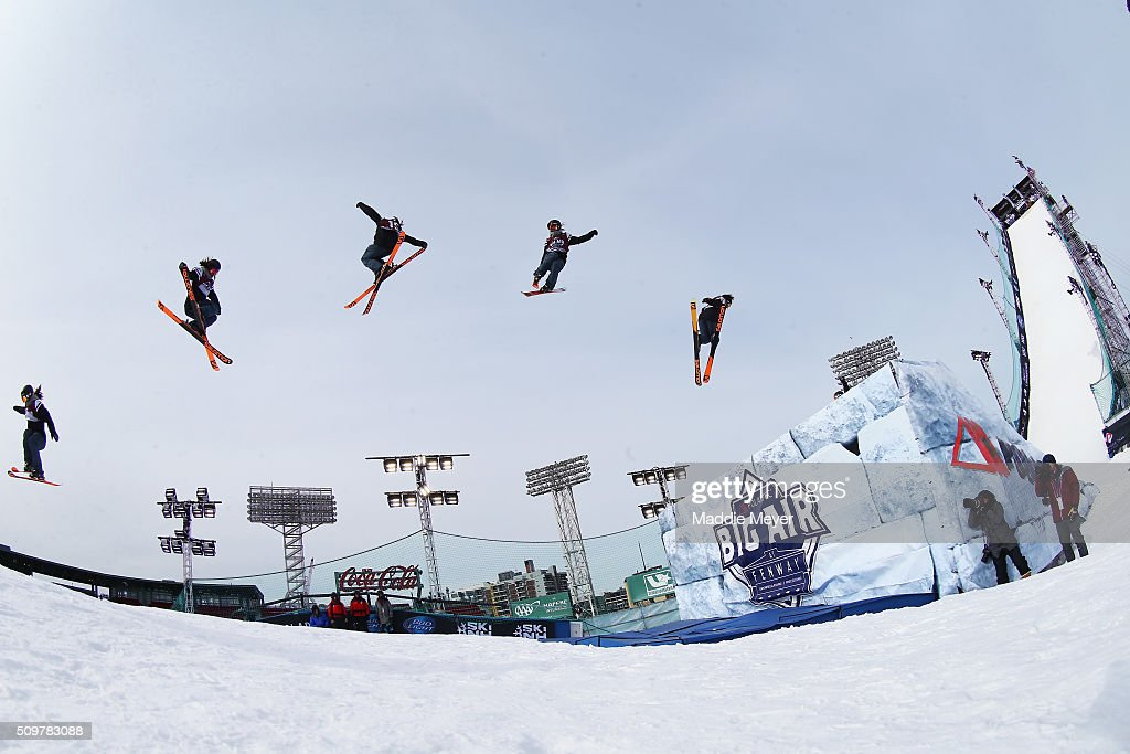 Isabel Atkin of Great Britain competes in the qualifying round during Polartec Big Air at Fenway Day 2 at Fenway Park on February 12, 2016 in Boston, Massachusetts.