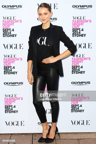 Isabel Cornish arrives at the launch of Vogue Fashion's Night Out at Hyde Park on September 4 2014 in Sydney Australia