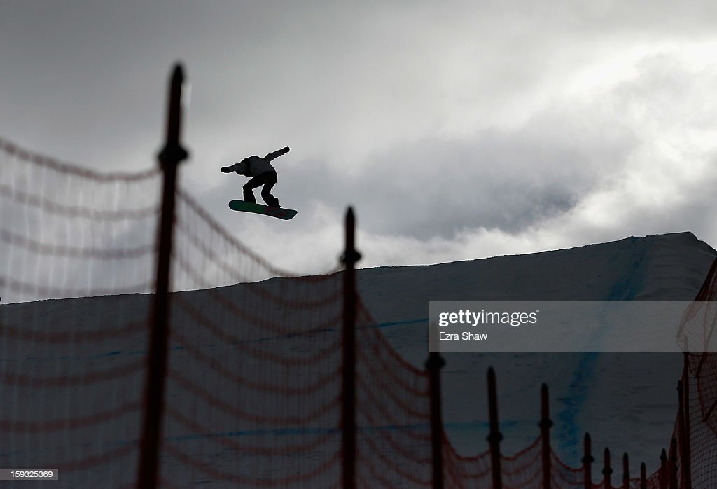 Isabel Derungs of Switzerland competes in the FIS Snowboard Slope Style World Cup ladie's finals at the US Grand Prix on January 11, 2013 in Copper Mountain, Colorado.
