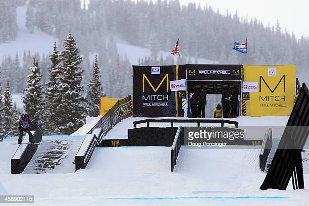 Isabel Derungs of Switzerland navigates the features at the begining of the course as she finished second in the women's FIS Snowboard Slopestyle...