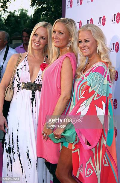Isabel Edvardsson Janine Kunze and Jenny Elvers attend the JT Tourism BBQ Party at 'Pink Villa' on September 2 2015 in Berlin Germany