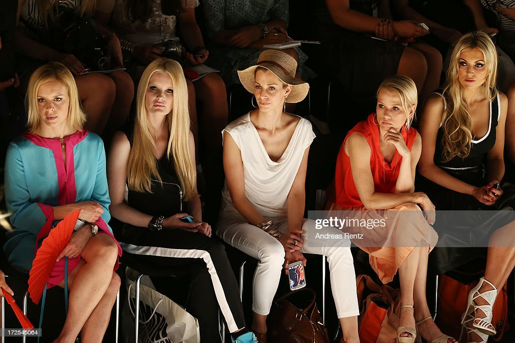 Isabel Edvardsson, Mirja du Mont, Tina Bordihn, Nova Meierhenrich and Rosanna Davison attends the Minx By Eva Lutz show during Mercedes-Benz Fashion Week Spring/Summer 2014 at Brandenburg Gate on July 3, 2013 in Berlin, Germany.
