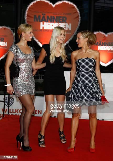 Isabel Edvardsson Tina Kaiser and Annemarie Warnkross attend the 'Maennerherzen 2 und die ganz grosse Liebe' premiere at CineStar on September 7 2011...