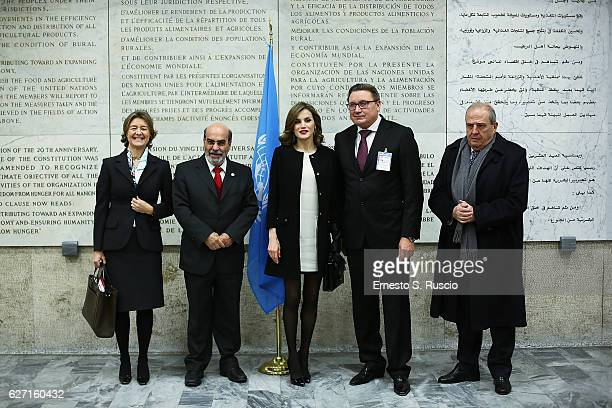 Isabel Garcia Tejerina Jose Graziano Da Silva Queen Letizia of Spain Dieg Chestnov and Don Francisco Javier Elorza attend the International Symposium...