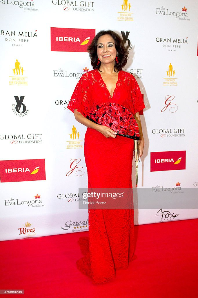 Isabel Gemio attends the Global Gift Gala 2015 red carpet at Gran Melia Don pepe Resort on July 5, 2015 in Marbella, Spain.