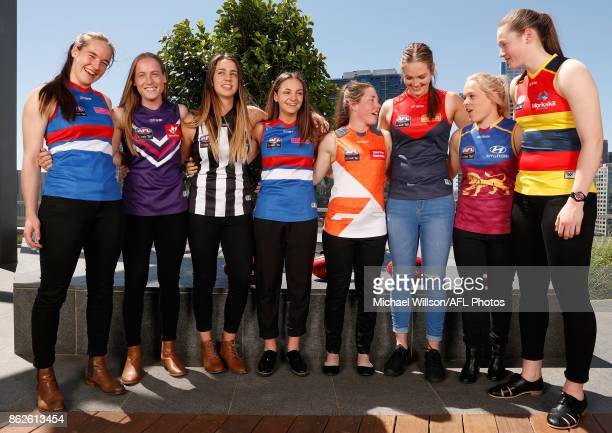 Isabel Huntington of the Bulldogs Stephanie Cain of the Dockers Chloe Molloy of the Magpies Monique Conti of the Bulldogs Jodie Hicks of the Giants...
