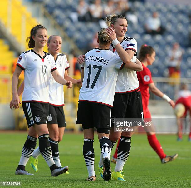 Isabel Kerschowski of Germany celebrates her goal against Turkey with her teammates during UEFA Women's Euro 2017 Qualifier match between Turkey and...