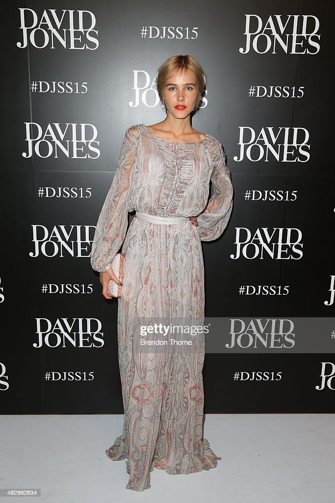 Isabel Lucas arrives ahead of the David Jones Spring/Summer 2015 Fashion Launch at David Jones Elizabeth Street Store on August 5 2015 in Sydney...