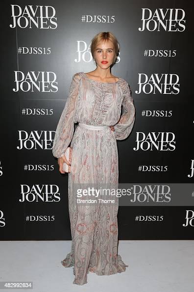 Isabel Lucas arrives ahead of the David Jones Spring/Summer 2015 Fashion Launch at David Jones Elizabeth Street Store on August 5 2015 in Sydney...