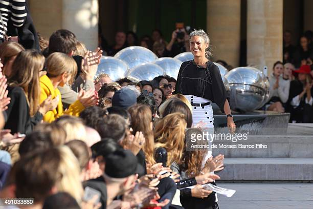 Isabel Marant walks the runway during the Isabel Marant show as part of the Paris Fashion Week Womenswear Spring/Summer 2016 on October 2 2015 in...