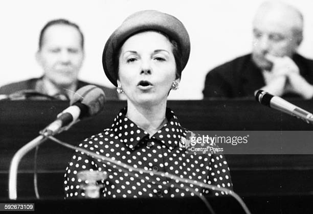 Isabel Martinez de Peron wife of President Juan Peron of Argentina speaking at a press conference in Geneva June 24th 1974