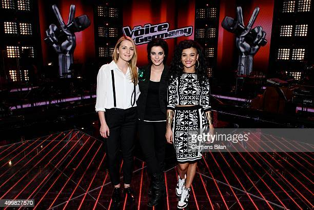 Isabel Ment Stefanie Kloss and Dimi Rompos attend the The Voice Of Germany 1st Live Show on December 3 2015 in Berlin Germany