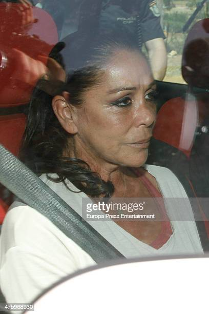 Isabel Pantoja goes back to prison on June 5 2015 in Alcala de Guadaira Spain The singer was allowed to be out of prison for four days