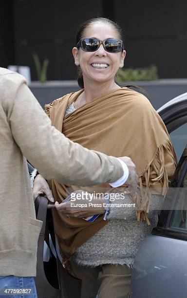 Isabel Pantoja is seen arriving at Parque San Antonio Hospital where her daughter Chabelita Pantoja gave birth her first son Alberto on March 9 2014...