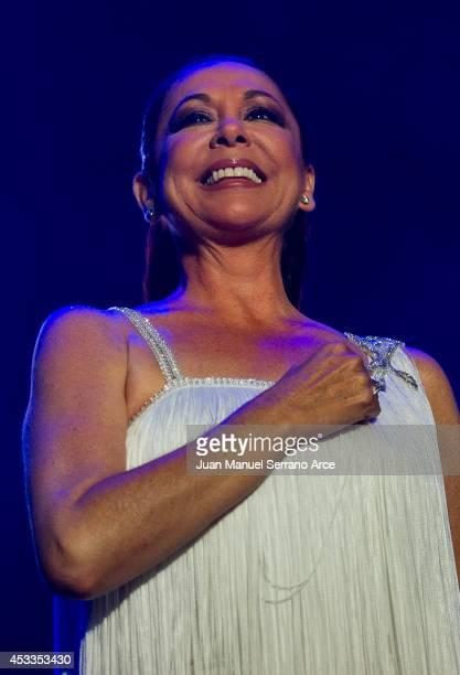 Isabel Pantoja performs at Palacio Deportes on August 8 2014 in Santander Spain
