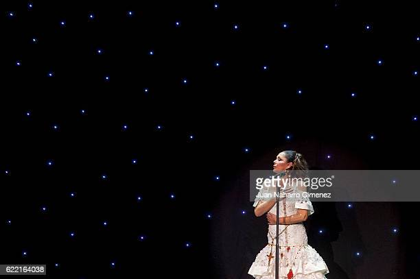 Isabel Pantoja performs during the launching of her new album 'Hasta Que Se Apague El Sol' composed by the mexican song writer Juan Gabriel who died...