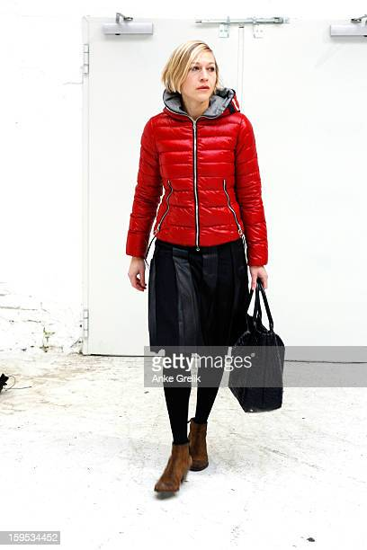 Isabel Prange wearing Drykorn skirt attends Premium at MercedesBenz Fashion Week Autumn/Winter 2013/14 at venue on January 15 2013 in Berlin Germany
