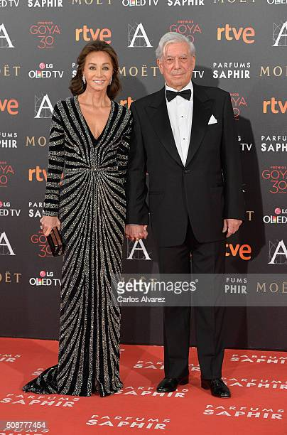 Isabel Presley and Mario Vargas Llosa attends Goya Cinema Awards 2016 at Madrid Marriott Auditorium on February 6 2016 in Madrid Spain
