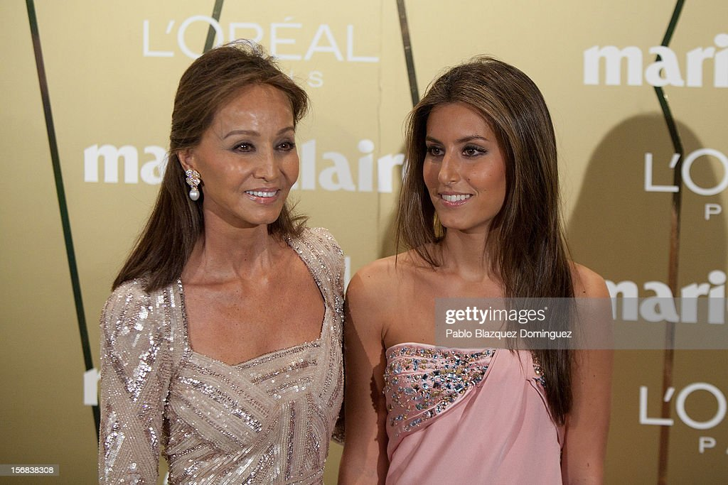 <a gi-track='captionPersonalityLinkClicked' href=/galleries/search?phrase=Isabel+Preysler&family=editorial&specificpeople=228933 ng-click='$event.stopPropagation()'>Isabel Preysler</a> (L) and daughter <a gi-track='captionPersonalityLinkClicked' href=/galleries/search?phrase=Ana+Boyer&family=editorial&specificpeople=4043272 ng-click='$event.stopPropagation()'>Ana Boyer</a> (R) attend Marie Claire Prix de la Moda Awards 2012 at French Embassy on November 22, 2012 in Madrid, Spain.