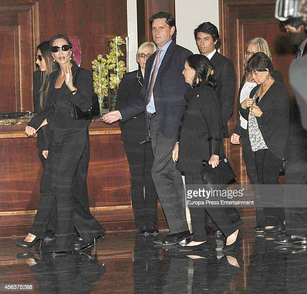 Isabel Preysler and her daughter Ana Boyer attend the funeral chapel for Miguel Boyer minister of Economy Treasury and Commerce from 1982 to 1985 at...