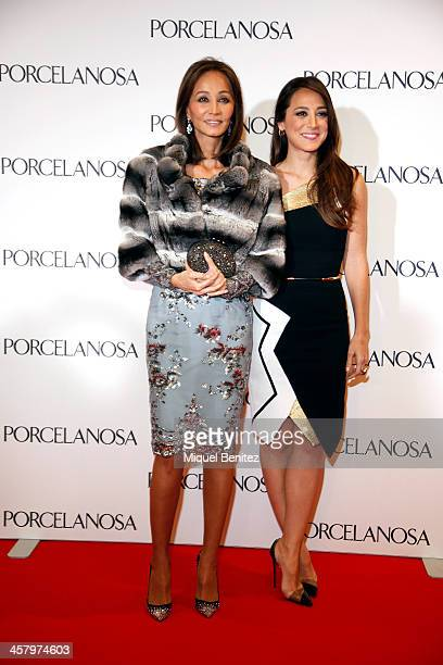 Isabel Preysler and her daughter Tamara Falco attend the Re Opening of a Porcelanosa store on December 19 2013 in L'Hospitalet Barcelona Spain