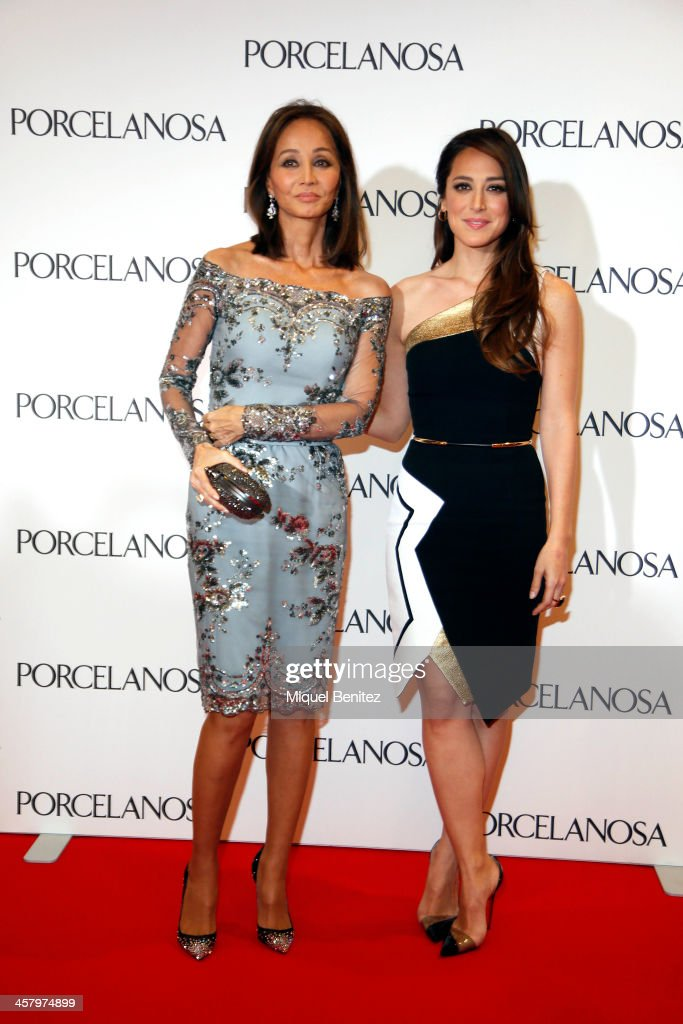 Isabel Preysler and her daughter Tamara Falco attend the Re Opening of a Porcelanosa store on December 19, 2013 in L'Hospitalet, Barcelona, Spain.